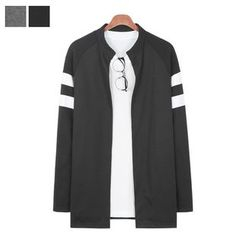 DANGOON - Mandarin-Collar Contrast-Trim Cardigan