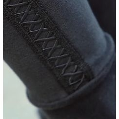 REDOPIN - Faux-Leather Trim Leggings