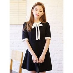 icecream12 - Tie-Neck Mini Dress