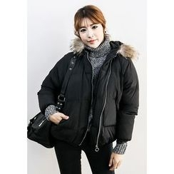 INSTYLEFIT - Faux-Fur Hooded Zip Padded Jacket