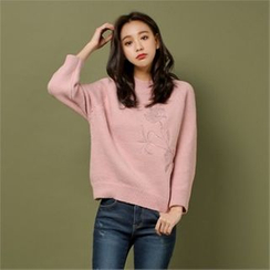 Styleberry - Embroidered Pointelle-Knit Sweater