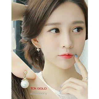 soo n soo - Faux-Pearl 10k Dangle Earrings