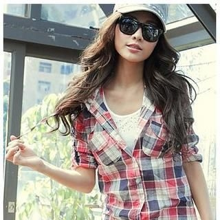 PUFII - Set: Laced Hooded Plaid Shirt + Rhinestone Tank Top