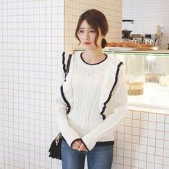 mimi&didi - Frilled-Front Cable-Knit Top