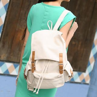 59 Seconds - Contrast Buckled Canvas Backpack