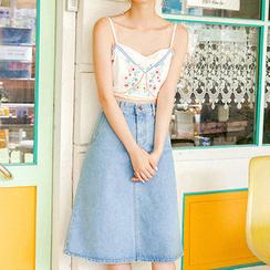 chuu - A-Line Denim Midi Skirt