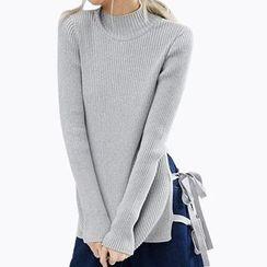 Obel - Tie Detailed Mock Neck Sweater