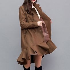 chuu - Ruffle-Hem Belted Wool Blend Trench Coat