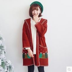Forest Girl - Embroidered Hooded Long Cardigan