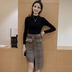 Angel Shine - Set: Mock Neck Long Sleeve Knit Top + Asymmetric Hem Plaid Skirt