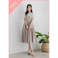 GOROKE - Set: Tie-Back Pinstripe Bustier Top + A-Line Midi Skirt