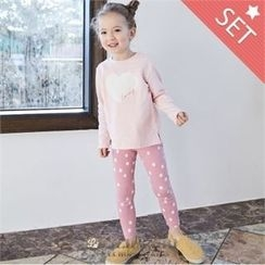 LILIPURRI - Girls Set: Heart Print T-Shirt + Polka-Dot Leggings