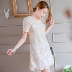 Tokyo Fashion - Lace-Panel A-Line Dress