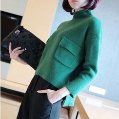 YIDIYU - 纯色高领毛衣