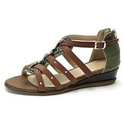 MODELSIS - Genuine Leather Croc-Grain T-Strap Sandals