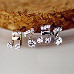 Gossip Girl - Rhinestone Musical Note Stud Earrings