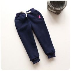 Rakkaus - Kids Drawstring Fleece-Lined Embroidered Pants