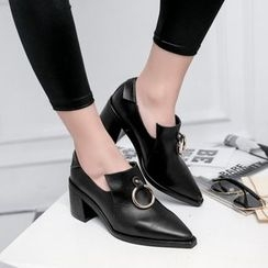 JY Shoes - Metal Ring Pointy Toe Loafers