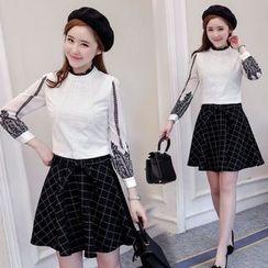 Mandalle - Set: Lace Trim Long Sleeve Blouse + Window Pane A-Line Skirt