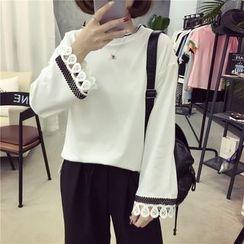 Fancy Show - Lace-Cuff Long-Sleeve Top
