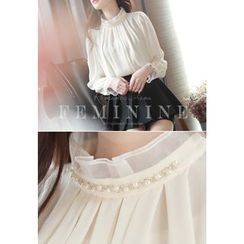 MyFiona - Faux-Pearl Beaded Shirred Chiffon Top