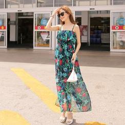 Cherryville - Floral Pattern Chiffon Maxi Sundress