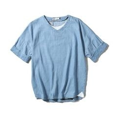 Mrlin - Denim V-Neck Short-Sleeve T-Shirt