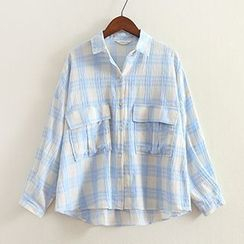 ninna nanna - Elbow-Sleeve Plaid Shirt