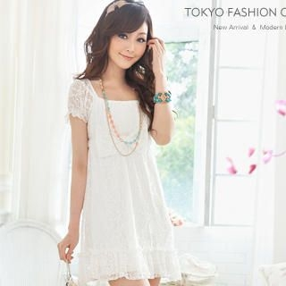 Tokyo Fashion - Short-Sleeve Empire Lace Dress