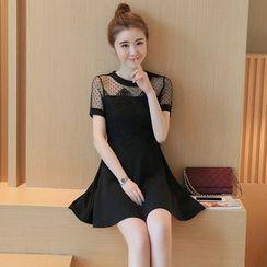 Sienne - Mesh Panel Short-Sleeve Dress