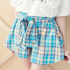 Tokyo Fashion - Inset Plaid Shirt Tie-Front Culottes