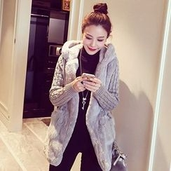 Lovebirds - Knit Sleeve Fleece Hooded Coat