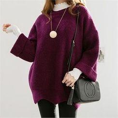 PIPPIN - Cuff-Sleeve Scallop-Hem Sweater