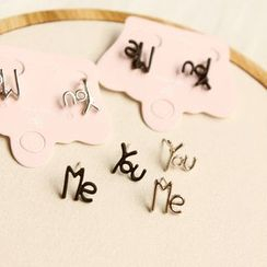 HayHill - Lettering Stud Earrings / Clip-On Earrings