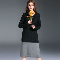 Queen Mulock - Long-Sleeve Color-Block Knit Dress