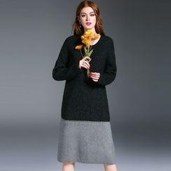 洛圖 - 長袖插色針織連衣裙