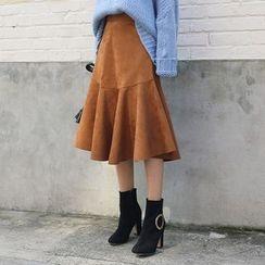 DABAGIRL - Ruffle-Hem Faux-Suede Midi Skirt