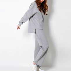 FASHION DIVA - Set: Drop-Shoulder Brushed-Fleece Lined Pullover + Pants