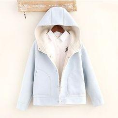 Vateddy - Hooded Faux Suede Jacket