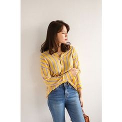 PPGIRL - V-Neck Striped Shirt