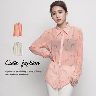 CUTIE FASHION - Zebra-Print Chiffon Shirt