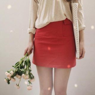 GOROKE - Flap-Pocket A-Line Skirt