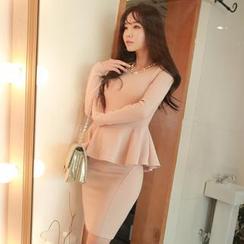 MyFiona - Set: Long-Sleeve Peplum Top + Zip-Back Pencil Skirt