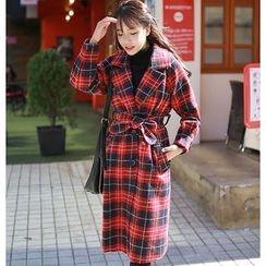 OTTI - Plaid Wool Coatdress