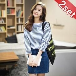 Styleberry - Set: Stripe Pullover + Denim Skirt