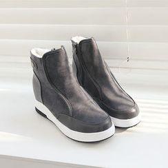 DANI LOVE - Contrast-Trim Hidden-Heel Snow Boots