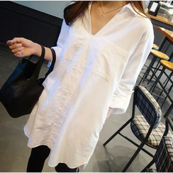 QZ Lady - Plain V-Neck Long Shirt