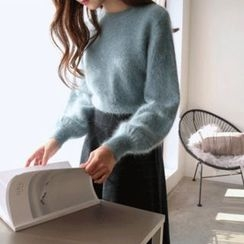 Hello sweety - Balloon-Sleeve Wool Blend Furry-Knit Sweater