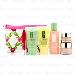 Clinique 倩碧 - Travel Set: Lotion 3 60ml + D.D.M.G 30ml + Soap 30ml + Moisture Surge 15ml + All About Eyes 7ml + Chubby Stick 3ml + Bag
