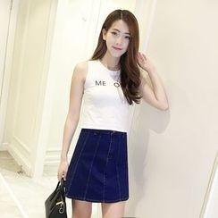 Nassyi - A-Line Denim Skirt